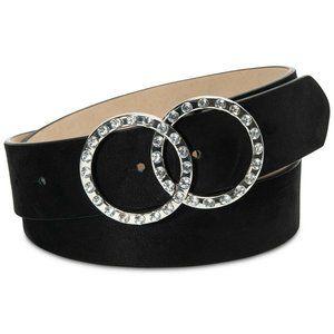INC Size XL Rhinestone Double-Circle Belt in Black